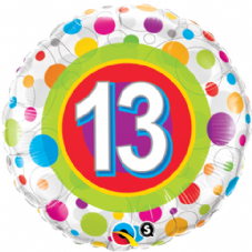 13th Birthday Colourful Dots Foil Balloon
